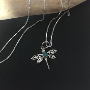 Sterling silver fire opal dragonfly necklace